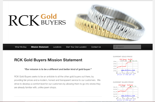 WordPress website created for RCK Gold Buyers