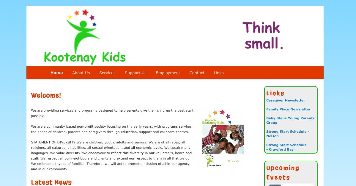 Kootenay Kids WordPress Website