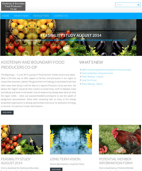 WordPress website created for the Kootenay Boundary Food Producer's Co-op