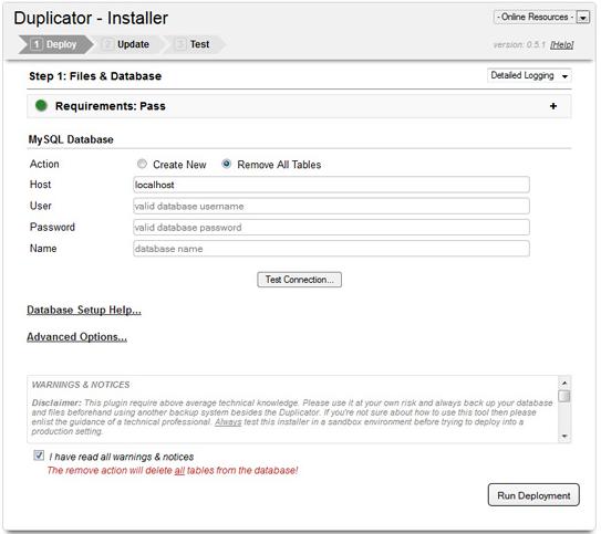 Duplicator Plugin Installer Screen
